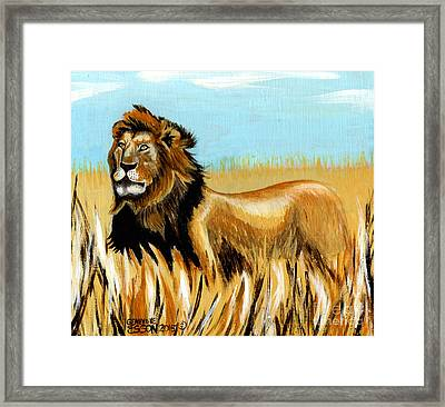 Cecil The Lion Framed Print by Genevieve Esson