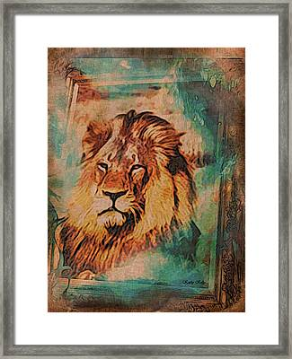 Framed Print featuring the digital art Cecil The Lion by Kathy Kelly