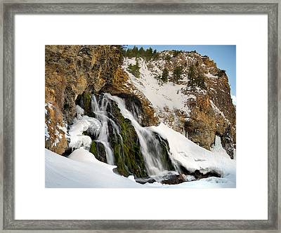 Cedar Creek Falls Winter Framed Print by Leland D Howard