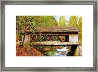 Cedar Creek Grist Mill Covered Bridge Framed Print by Steve Warnstaff