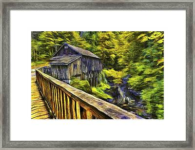 Cedar Creek Grist Mill Van Gogh Framed Print by Mark Kiver