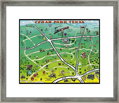 Cedar Park Texas Cartoon Map Framed Print by Kevin Middleton