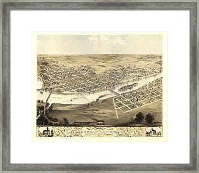 Cedar Rapids Iowa 1868 Framed Print by Mountain Dreams