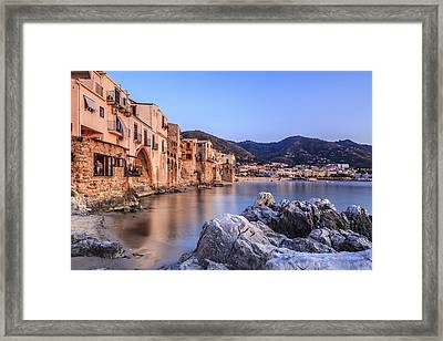 Cefalu Harbour, Sicily, Italy Framed Print by Slow Images