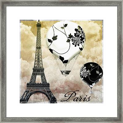 Ceil Jaune II Vintage Hot Air Balloon Framed Print by Mindy Sommers