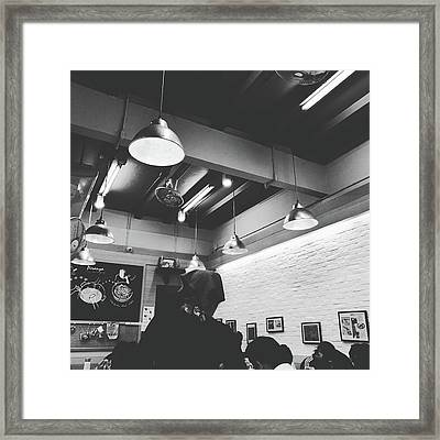 Ceiling Lights Low Angle Shot Photo In Black And White  Framed Print by Siri
