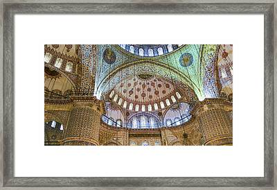 Ceiling Of Blue Mosque Framed Print