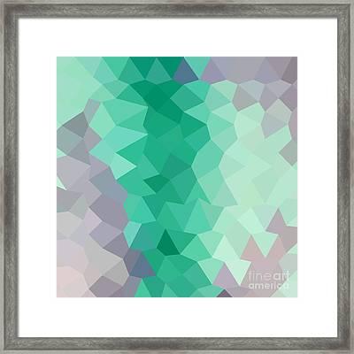 Celadon Green Abstract Low Polygon Background Framed Print by Aloysius Patrimonio