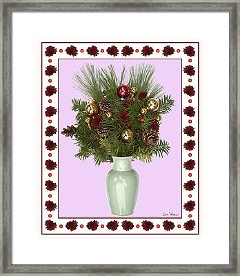 Celadon Vase With Christmas Bouquet Framed Print by Lise Winne
