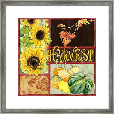Celebrate Abundance - Harvest Fall Leaves Squash N Sunflowers W Paisleys Framed Print by Audrey Jeanne Roberts