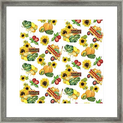 Celebrate Abundance Harvest Half Drop Repeat Framed Print by Audrey Jeanne Roberts