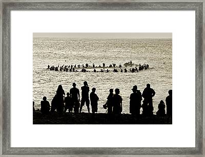 Celebrating Eddie Framed Print by Sean Davey