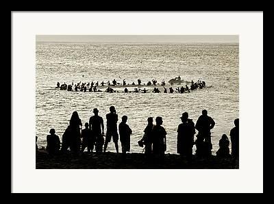 Surfing Contest Framed Prints