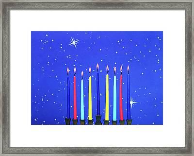 Celebrating Hanukkah Framed Print