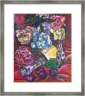 Framed Print featuring the painting Celebration Flowers by Ariadna De Raadt