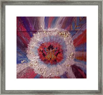 Celebration Of Life With  A Butterfly In The Middle Framed Print by Anne-Elizabeth Whiteway