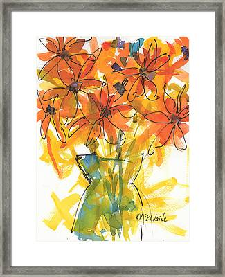 Celebration Of Sunflowers Watercolor Painting By Kmcelwaine Framed Print by Kathleen McElwaine