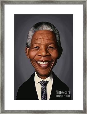 Celebrity Sunday - Nelson Mandela Framed Print by Rob Snow