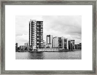 celestia vega and maia houses luxury apartment buildings on roath basin on overcast day Cardiff bay  Framed Print