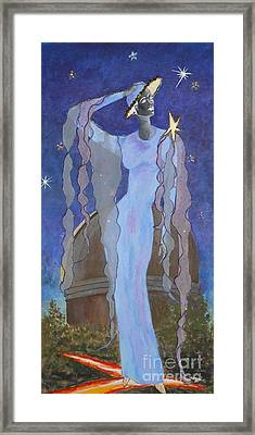 Celestial Bodies -- Fashion Collage Portrait W/ Fabric And Crystals Framed Print