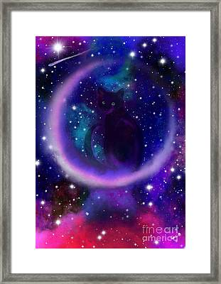 Framed Print featuring the painting Celestial Crescent Moon Cat  by Nick Gustafson