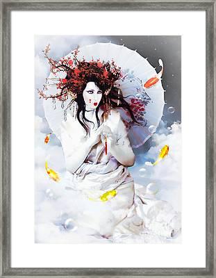 Celestial Koi Geisha Framed Print
