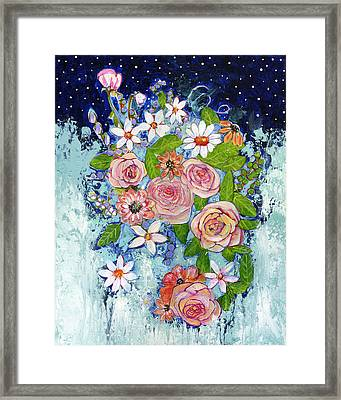 Celestial Sky Flower Garden Framed Print by Blenda Studio