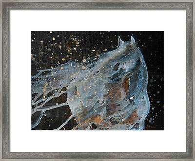 Framed Print featuring the painting Celestial Stallion  by Jani Freimann