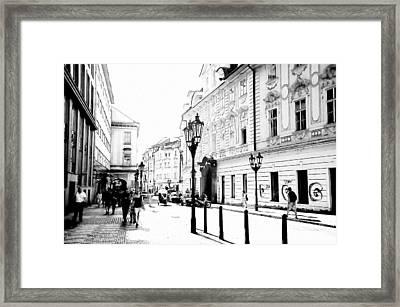 Celetna Street. Walk In Old Prague Framed Print by Jenny Rainbow