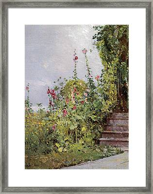 Celia Thaxters Garden Framed Print by Childe Hassam