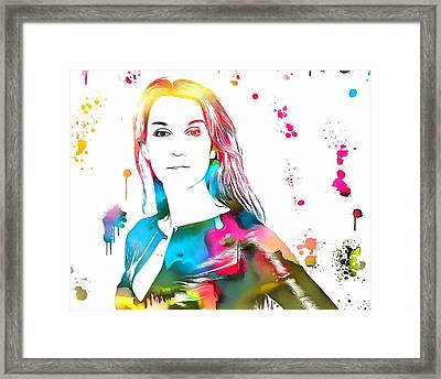 Celine Dion Paint Splatter Framed Print by Dan Sproul