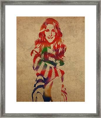 Celine Dion Watercolor Portrait Framed Print