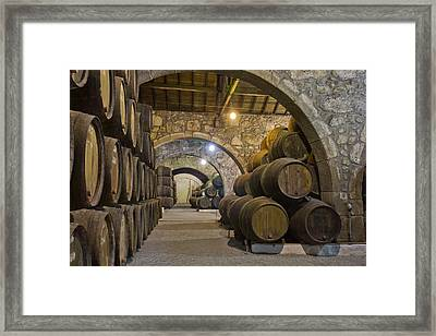 Cellar With Wine Barrels Framed Print by Anastasy Yarmolovich