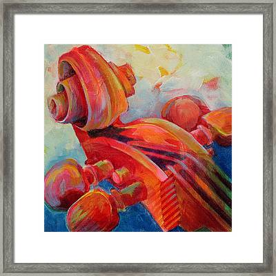 Cello Head In Red Framed Print by Susanne Clark