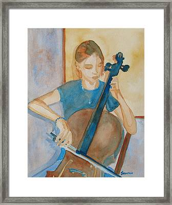 Cello Practice Iv Framed Print by Jenny Armitage