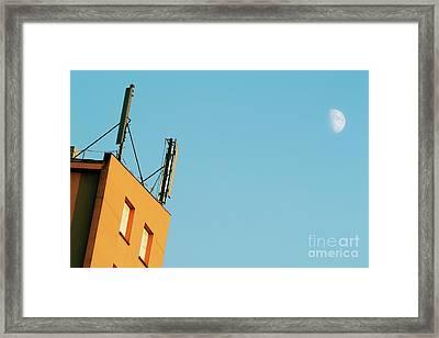 Cellular Phone Antennas And A Half Moon At Sunset Framed Print by Sami Sarkis