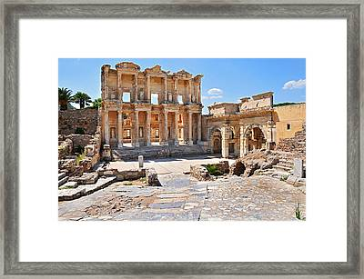 Celsus Library And Gate Of Augustus Framed Print
