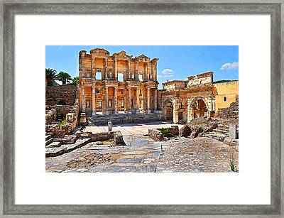 Celsus Library And Gate Of Augustus Poster Edge Effect Framed Print