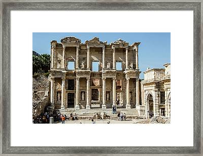Celsus Library Framed Print by Kathy McClure