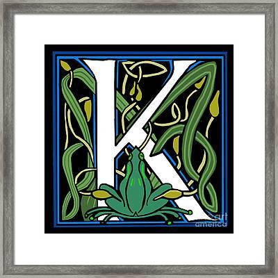 Celt Frog Letter K Framed Print