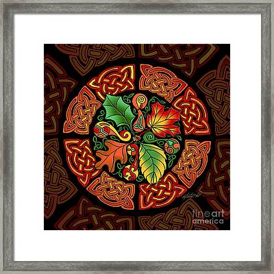 Framed Print featuring the mixed media Celtic Autumn Leaves by Kristen Fox