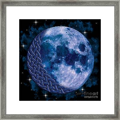 Framed Print featuring the mixed media Celtic Blue Moon by Kristen Fox