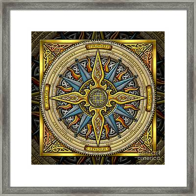 Framed Print featuring the mixed media Celtic Compass by Kristen Fox