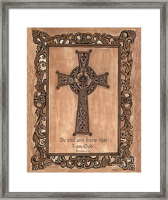 Celtic Cross Framed Print by Debbie DeWitt