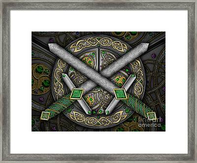 Framed Print featuring the mixed media Celtic Daggers by Kristen Fox
