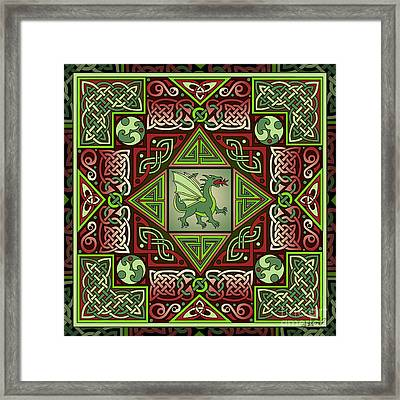 Framed Print featuring the mixed media Celtic Dragon Labyrinth by Kristen Fox