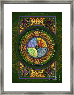 Framed Print featuring the mixed media Celtic Elements by Kristen Fox