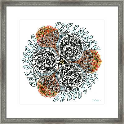 Celtic Knot With Autumn Trees Framed Print