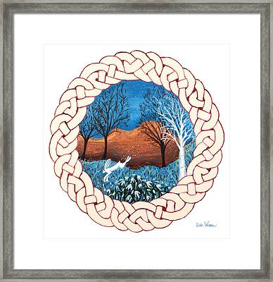 Celtic Knot With Bunny Framed Print by Lise Winne