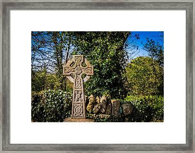 Celtic Knots Decorate A Celtic Cross Framed Print